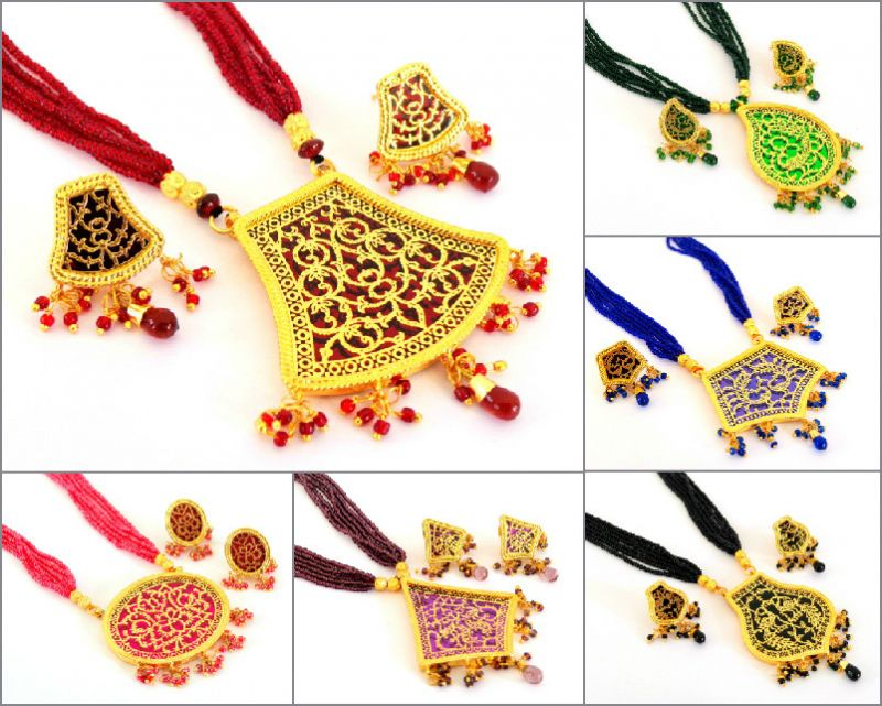 Wholesale Lot Indian Thewa Art Jewelry (Assorted Colors & Designs)