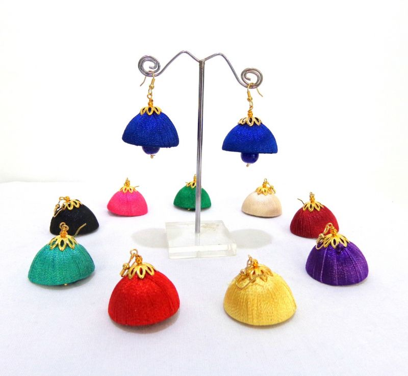 Wholesale Lot Handcrafted Thread Jhumka Earrings (Assorted Colors)