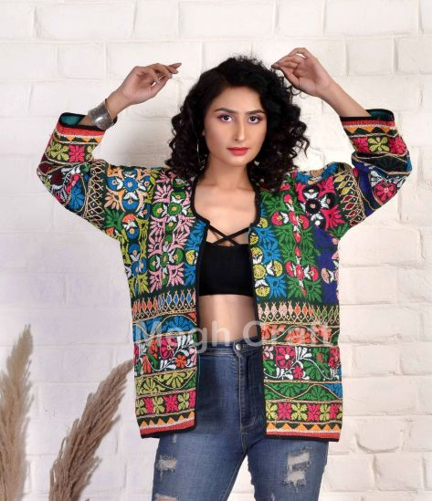 Colorful Embroidery Jacket Coat