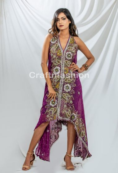 Beaded Stone Work Boho Dress