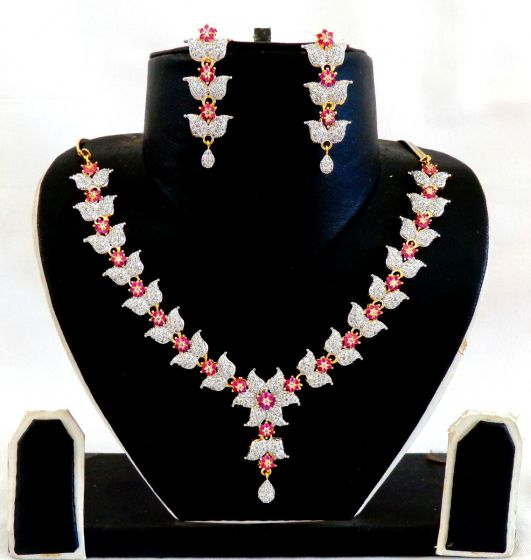 Ruby American Diamond Necklace