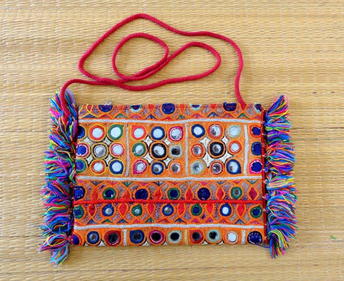 Boho Mirror Work Fringe Bag