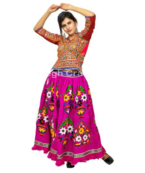 Purple Gujarati Kutch Embroidery Skirt