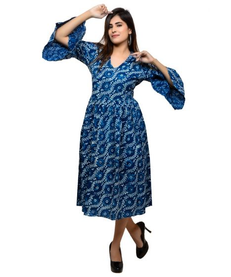 Dhabu Block Printed Midi Dress