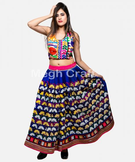 Blue Gujarati Mirror work Skirt