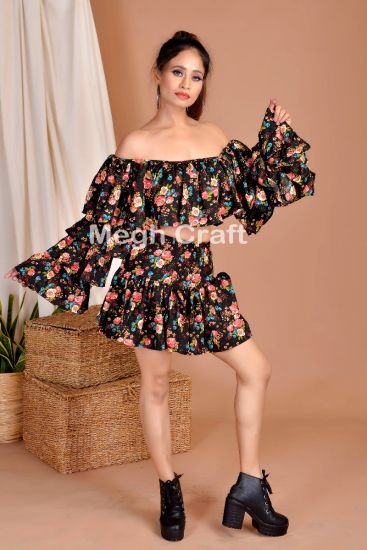 Floral Ruffle Skirt Tube Top