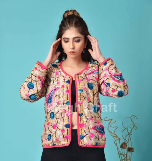 Floral Hand Embroidery Bomber
