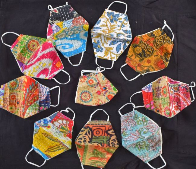 Indian Kantha Embroidery Mask