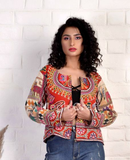 Girls Bohemian Embroidery Jacket