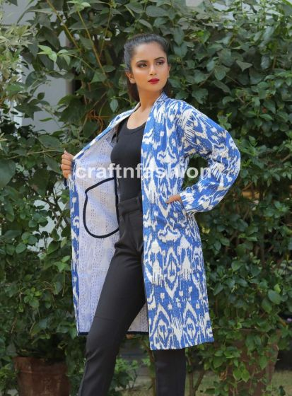 Ikat Kantha Reversible Coat Jacket