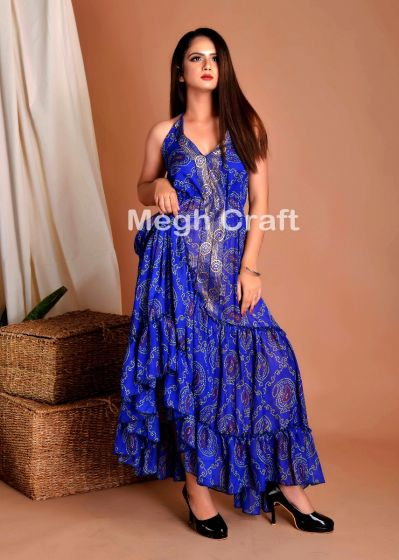 Blue Bandhej Boho Maxi Dress