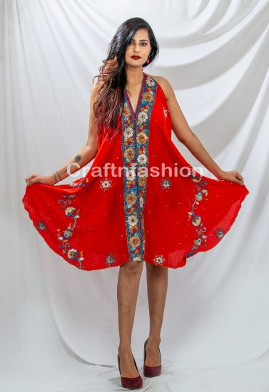 Red Party Wear Halter Dress