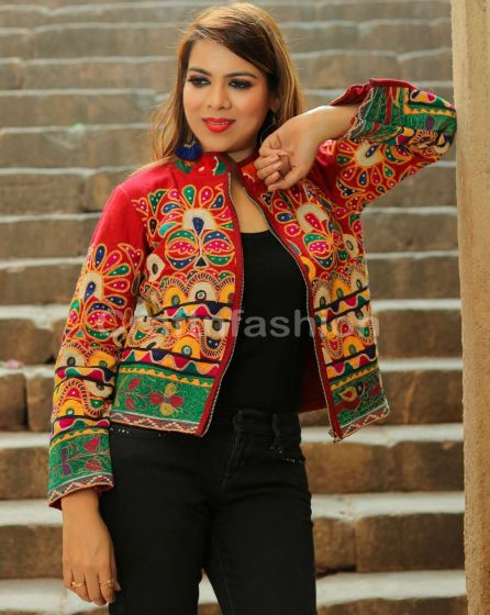 Kutch Embroidered Bomber Jacket