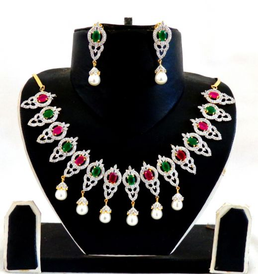 Ruby Green CZ Pearl Necklace Set