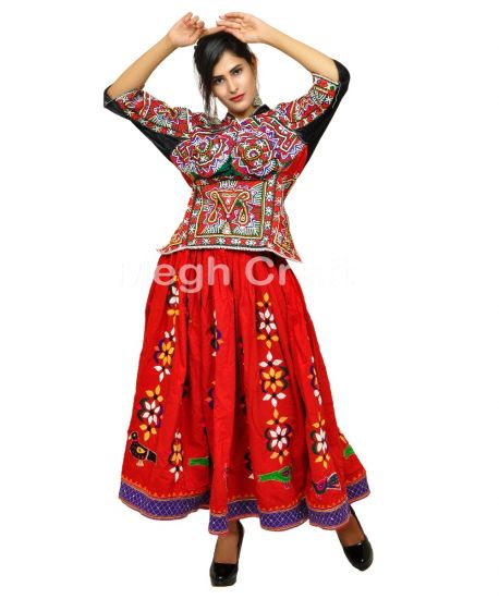 Red Kutch Hand Embroidered Skirt