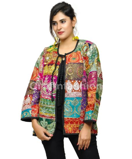Hand Embroidery Patchwork Jacket Coat