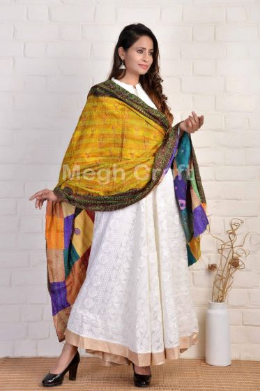 Traditional Patchwork Kantha Dupatta
