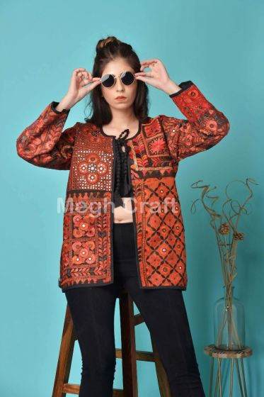 Red Dye Patchwork Banjara Coat