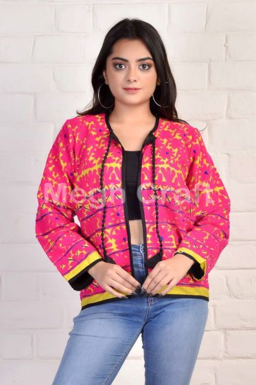 Pink Hand Embroidered Kutch Jacket