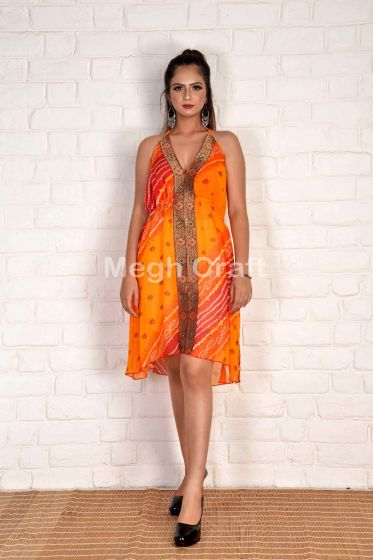 Stylish Bandhni Halter Dress
