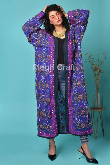 Embroidered Georgette Long Kimono