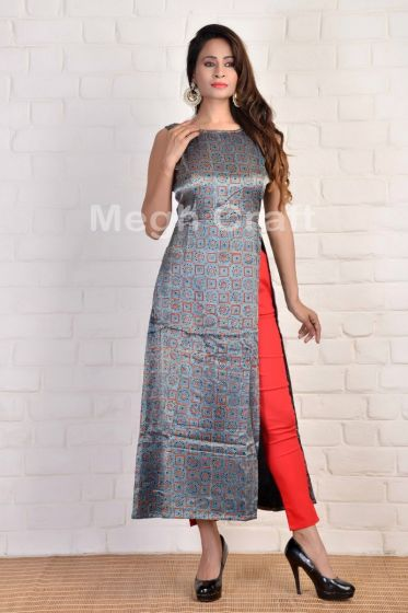 Gajji Silk Block Printed Long Kurti