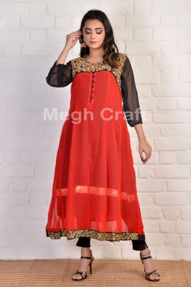 Red Georgette maxi gown Kurti