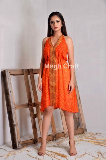 Orange Bandhej Halter Dress