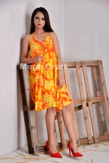 Tie Dye Halter Fashion Dress