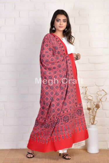 Red Ajrakh Block Printed Dupatta