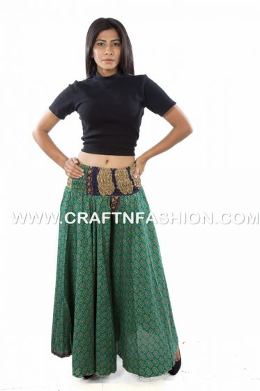 Green Exclusive Silk Palazzo Pant