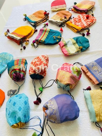 Wholesale lot Recycle Silk Sari Jewellery pouches